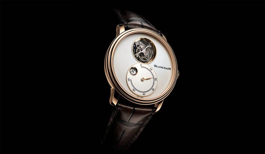 The Blancpain Villeret Tourbillon Volant Heure Sautante Minute Retrograde offers elegance with a twist