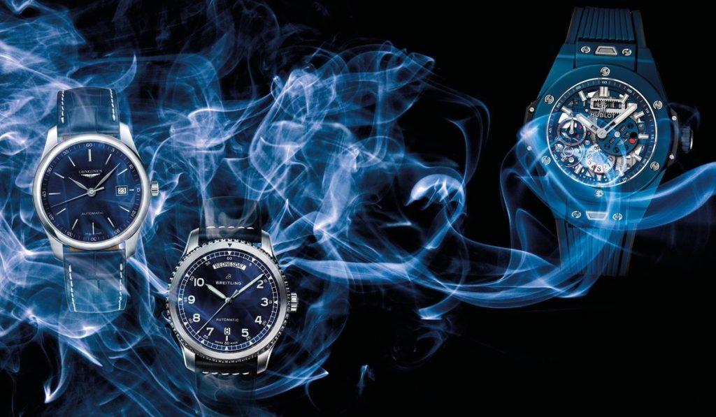 Striking blue-coloured luxury watches