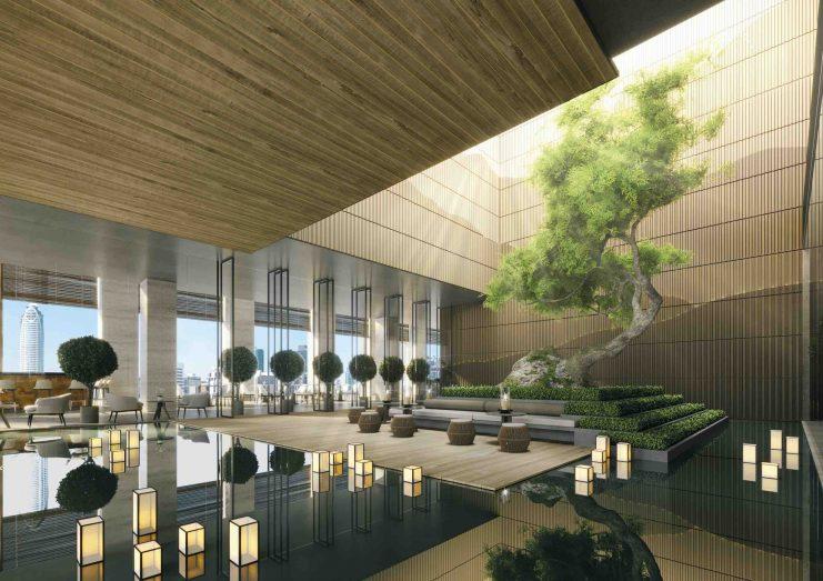 The dramatic central atrium at Aman Nai Lert Bangkok