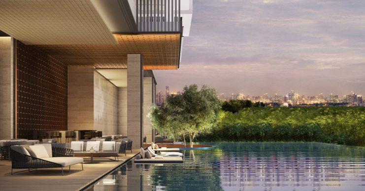 A render of the outdoor infinity pool at Aman Nai Lert Bangkok